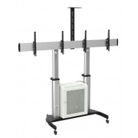 QTD07C-46TW: Dual Screen, Aluminium Mobile TV Cart / Video Conferencing Trolley with lockable cabinet