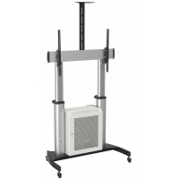 QTL07C-610TW: Extra Large, Aluminium Mobile TV Cart / Video Conferencing Trolley with lockable cabinet and 100kg weight loading