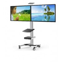 QD02-46TW - Dual TV, Aluminium Video Conferencing / Public Display Trolley