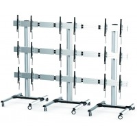 QVS01-346FW: Triple Video Wall TV Cart / Trolley. Modular Design up to 5x3 Wall